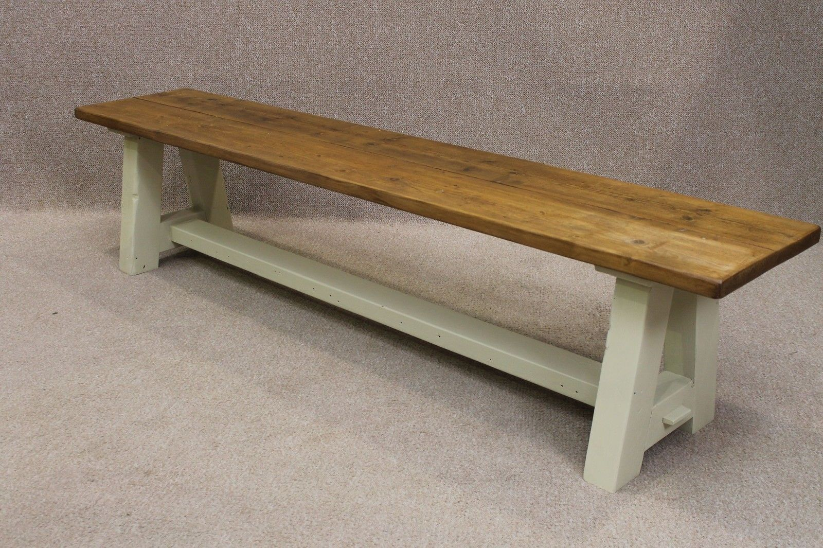 Pine Kitchen Bench Unfinished Cabinet Doors Rustic 6ft Hall Dining With A Painted Base In Antiques Antique Furniture Benches Stools Ebay