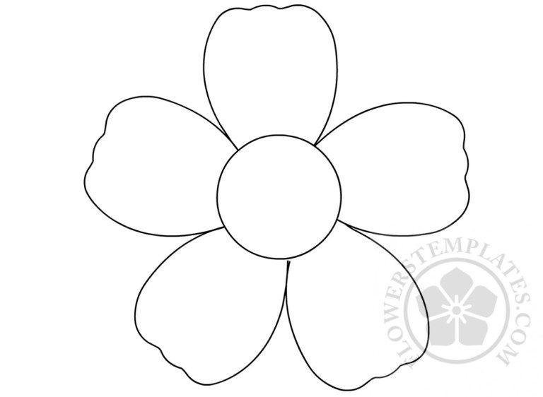 Http Flowerstemplates Com Simple Flower Outline Coloring Page Flower Outline Simple Flowers Coloring Pages