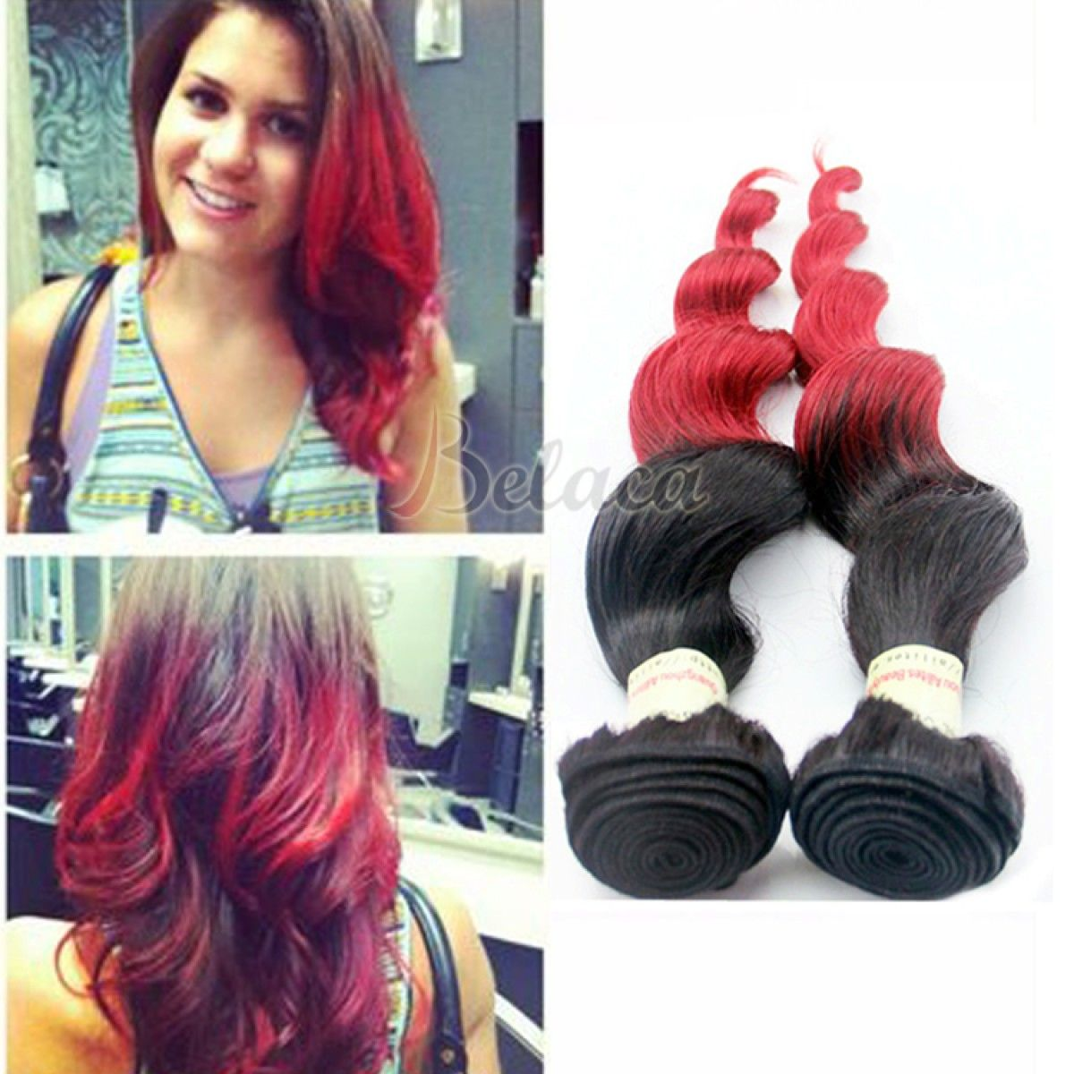 3 Bundles Red Color Hair Weave Ombre Buy Good Quality Babe Hair
