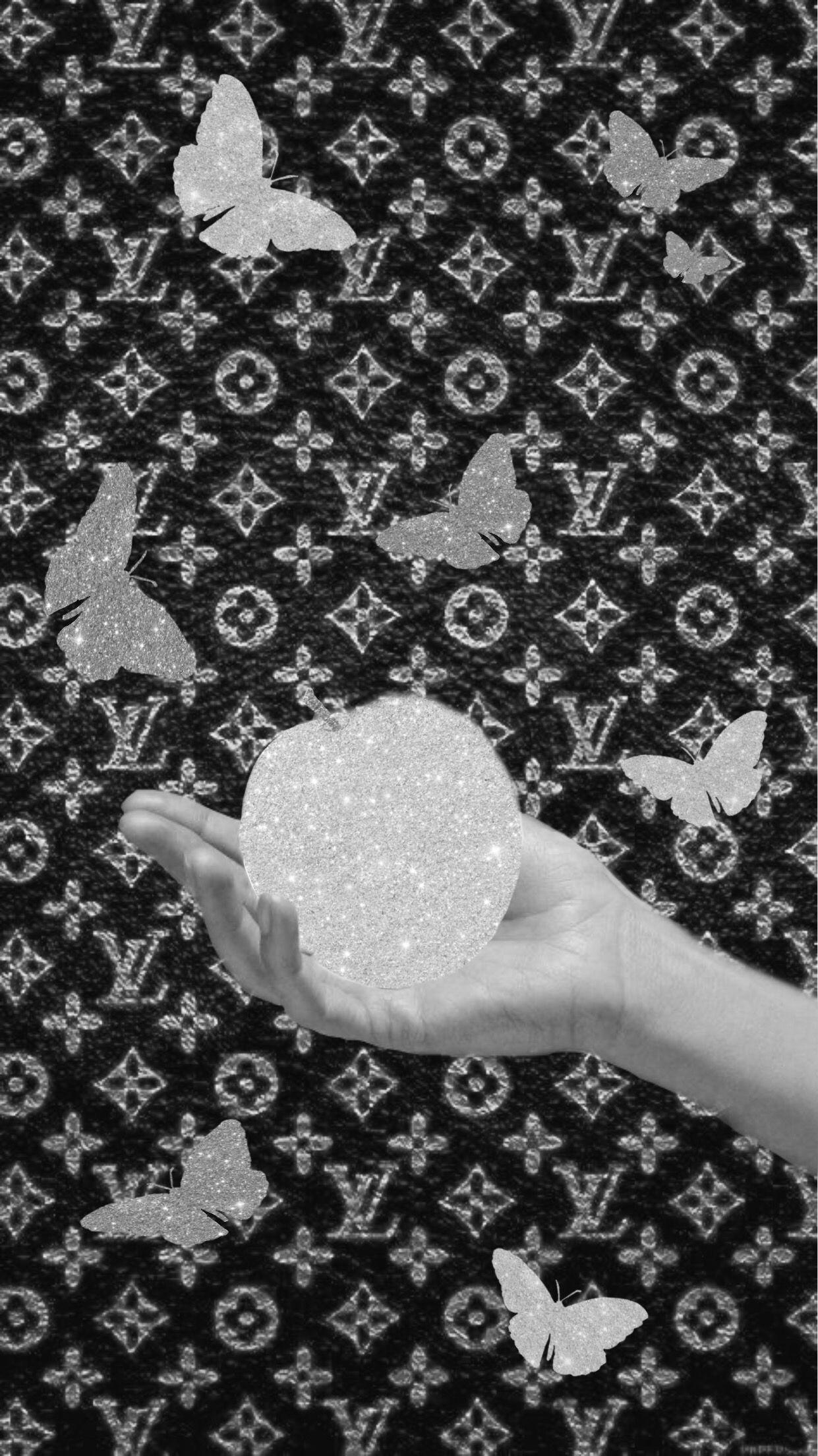 Glitter Sparkle Apple B W Black Aesthetic Wallpaper Black Glitter Wallpapers Black And White Picture Wall