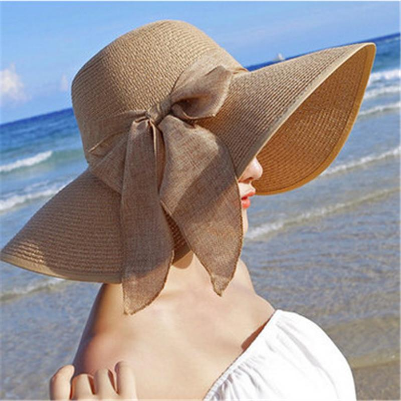 02aa5f199 Hot Sale Summer Sun Hats For Women, Large Brim With Ribbons Bow ...