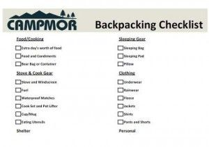 Backpacking Equipment Checklist  Backpacking Checklist Camping