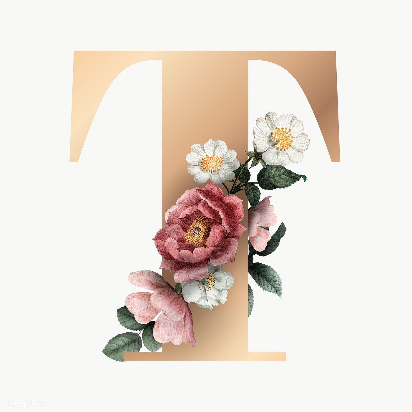 Classic And Elegant Floral Alphabet Font Letter T Transparent Png Free Image By Rawpixel Com Floral Monogram Letter Fonts Alphabet Lettering Alphabet Fonts