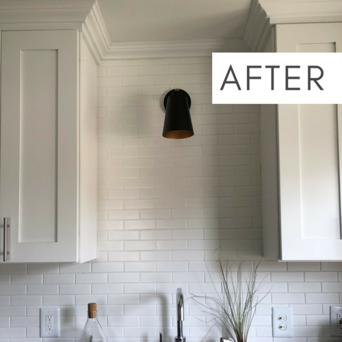 This Wall Makes Such A Large Style Impact In The Kitchen The Tile To The Ceiling The Crown Molding On The Cabinets And T Room Renovation Floor Decor Remodel
