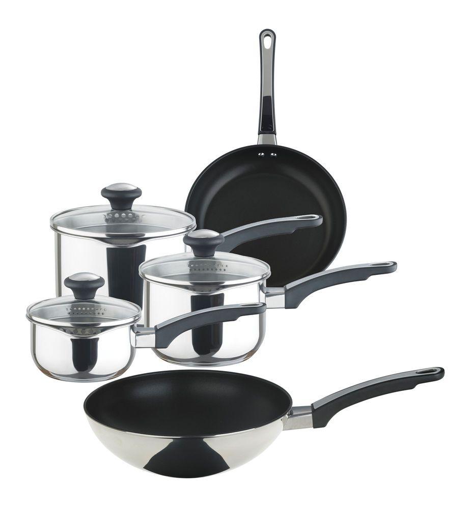 Prestige 5 Piece Stainless Steel Saucepan Frying Pan Stir Fry Pan