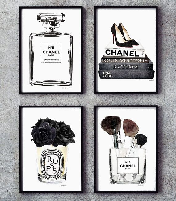 Black and white set of 4 fashion posters fashion perfume holiday gift guide for new