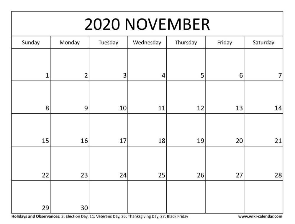 Blank November 2020 Calendar Calendar Printables November Calendar Calendar