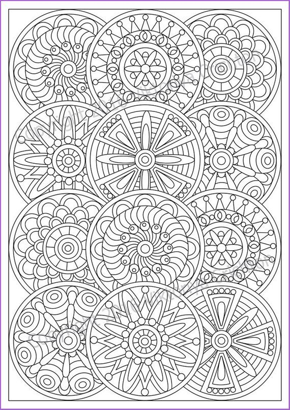 Mandala Coloring Page For Adult Pdf Doodle Zentangle Art Etsy Mandala Coloring Pages Pattern Coloring Pages Abstract Coloring Pages