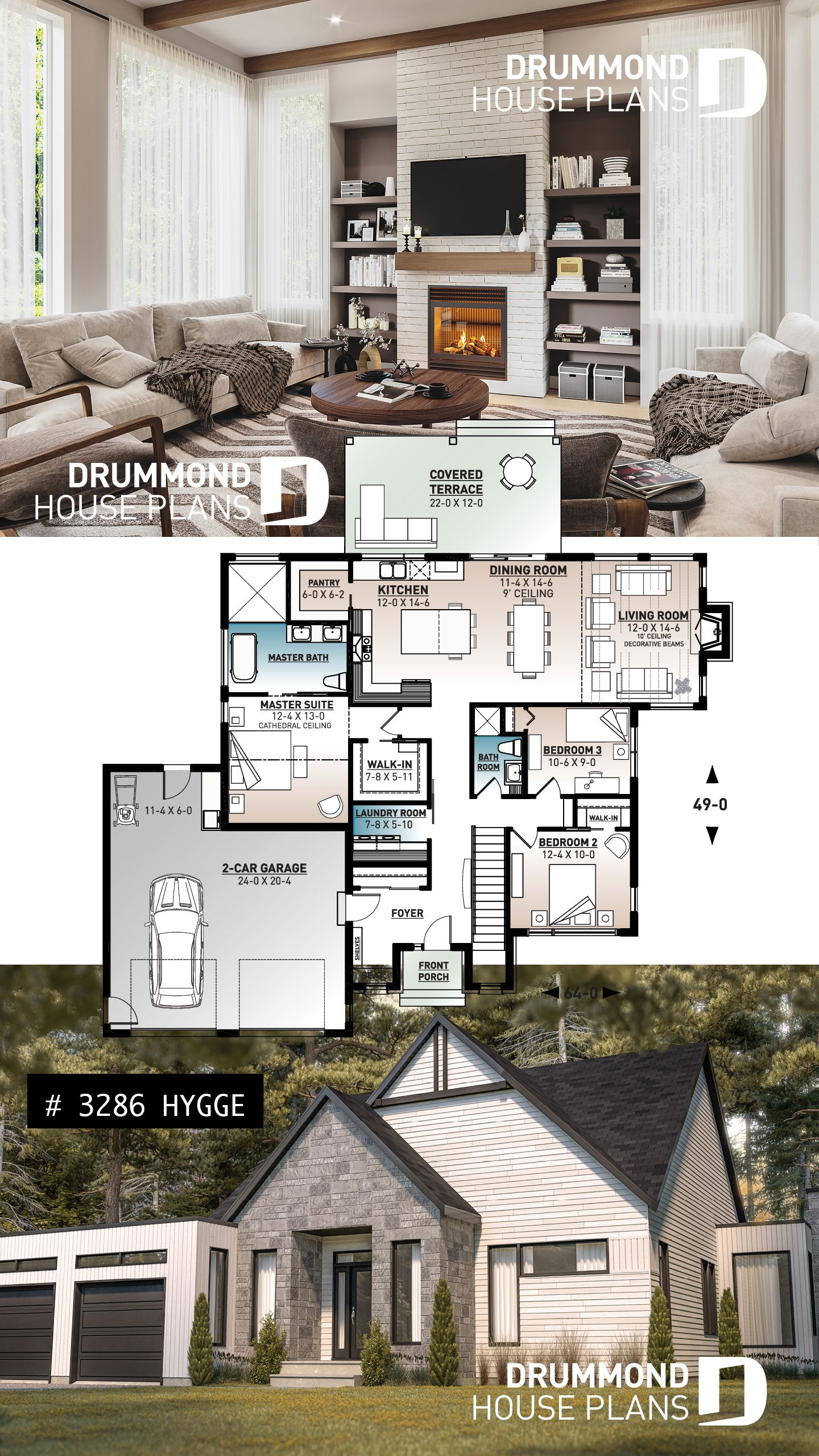Discover The Plan 3286 Hygge Which Will Please You For Its 3 Bedrooms And For Its Scandinavian Styles Bungalow House Plans Cottage House Plans Craftsman House Plans