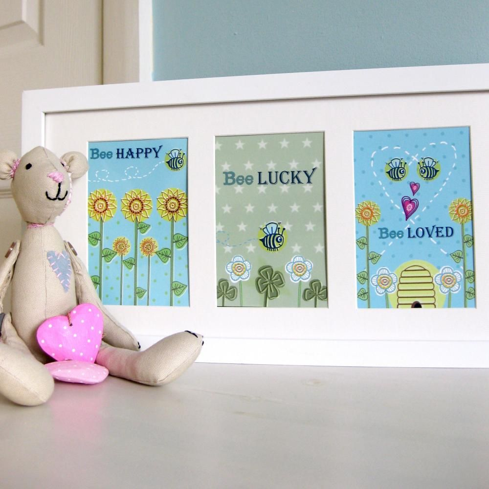 Pack of 3 A6 Postcard Prints 'Bee Happy',