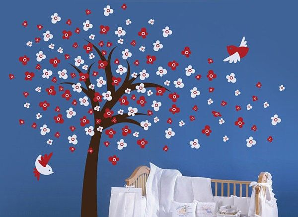 Tree With Birds And Red White Flowers On Blue Wall