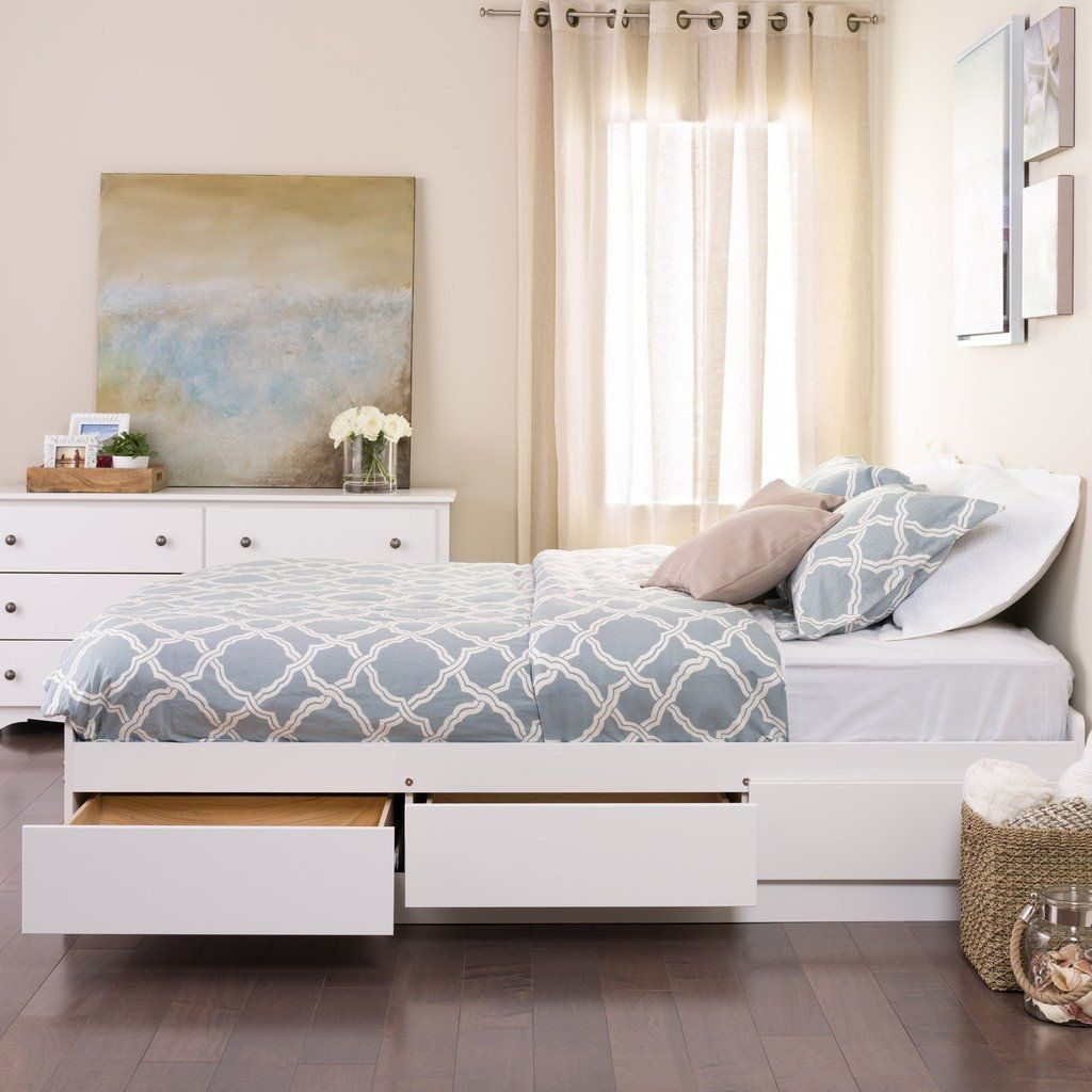 White Queen Mate\'s Platform Storage Bed with 6 Drawers | Storage ...