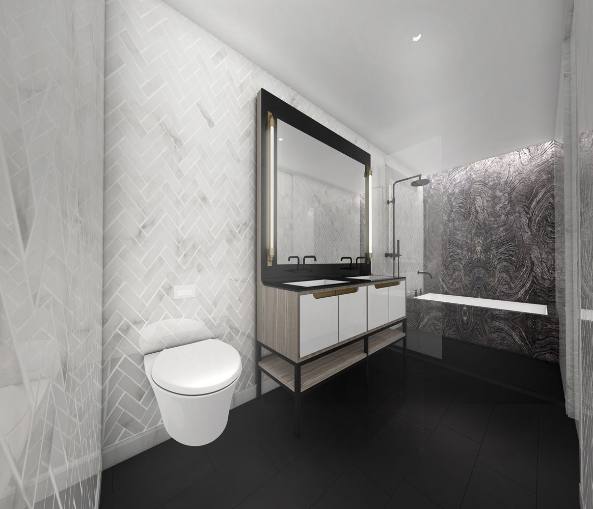 American Copper Buildings At 626 First Avenue With Images Herringbone Wall Grey Bathrooms Custom Shower