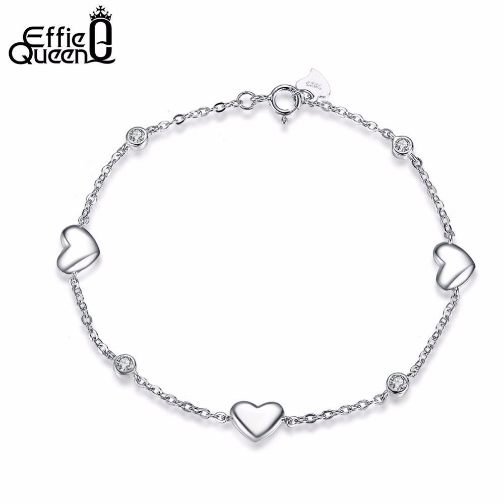 Effie queen new real sterling silver charm bracelets women