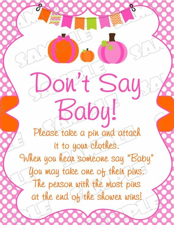 Pink Pumpkin Baby shower games don't say baby sign game Printable INSTANT DOWNLOAD UPrint by greenmelonstudios pumpkin fall baby shower