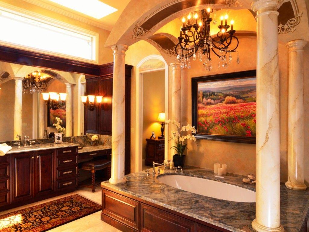 Awesome tuscan home decor | Bathroom | Pinterest | Master bathrooms on farmhouse bathroom walls, composite bathroom walls, faux finish bathroom walls, victorian bathroom walls, rustic bathroom walls,