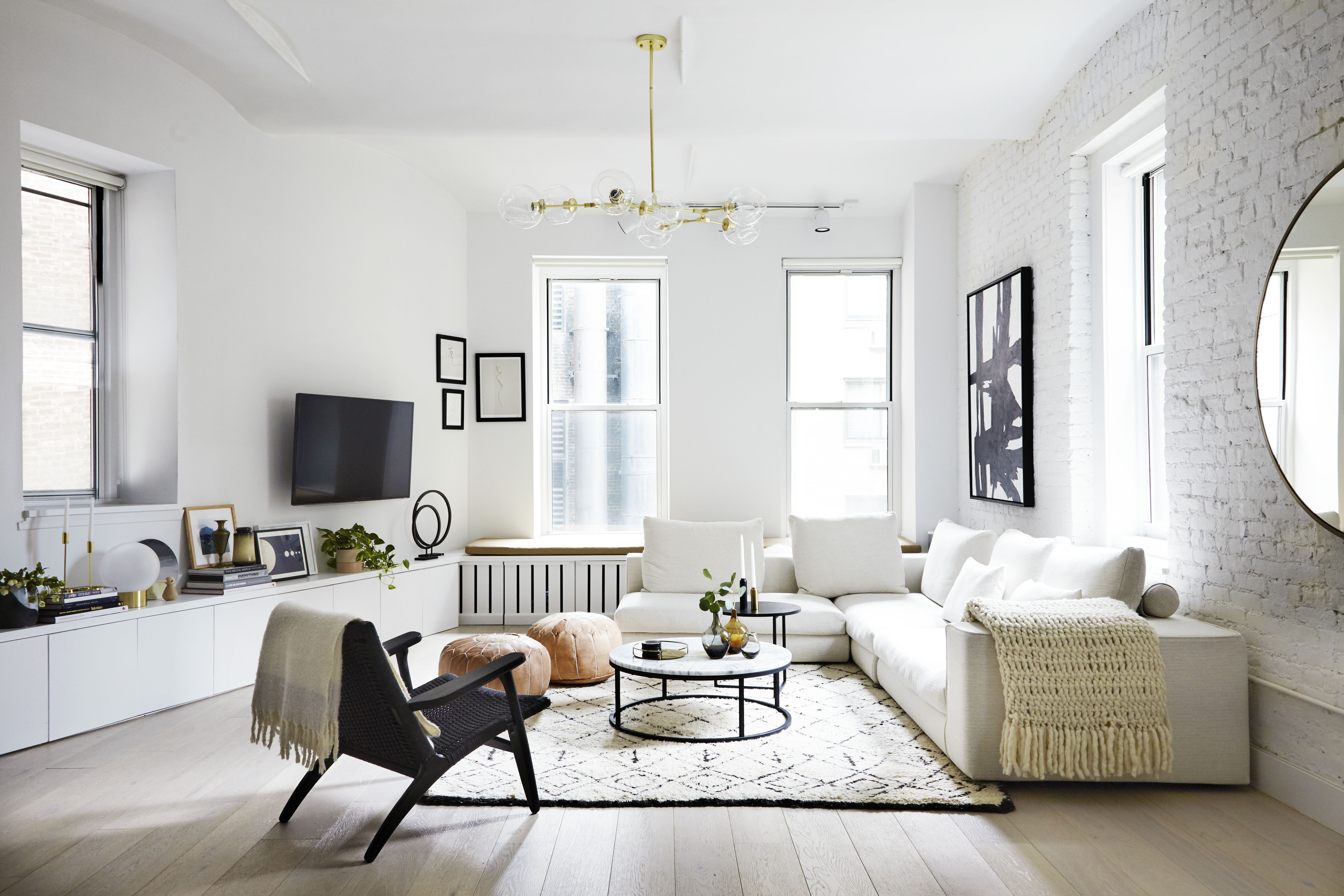 Photo 1 Of 19 In Tour An Insanely Stylish Nyc Loft With Major Living Room Scandinavian Minimalist Living Room Modern Minimalist Living Room #nyc #apartment #living #room #ideas