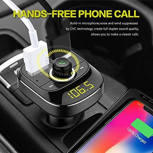 soyond Bluetooth FM Transmitter for Car FM Radio Transmitter Bluetooth, Quick Charge 3.0 USB Wireless Radio Transmitter Adapter Support Hands-Free Calling, Aux Output, USB Drive, TF Card, MP3 Player