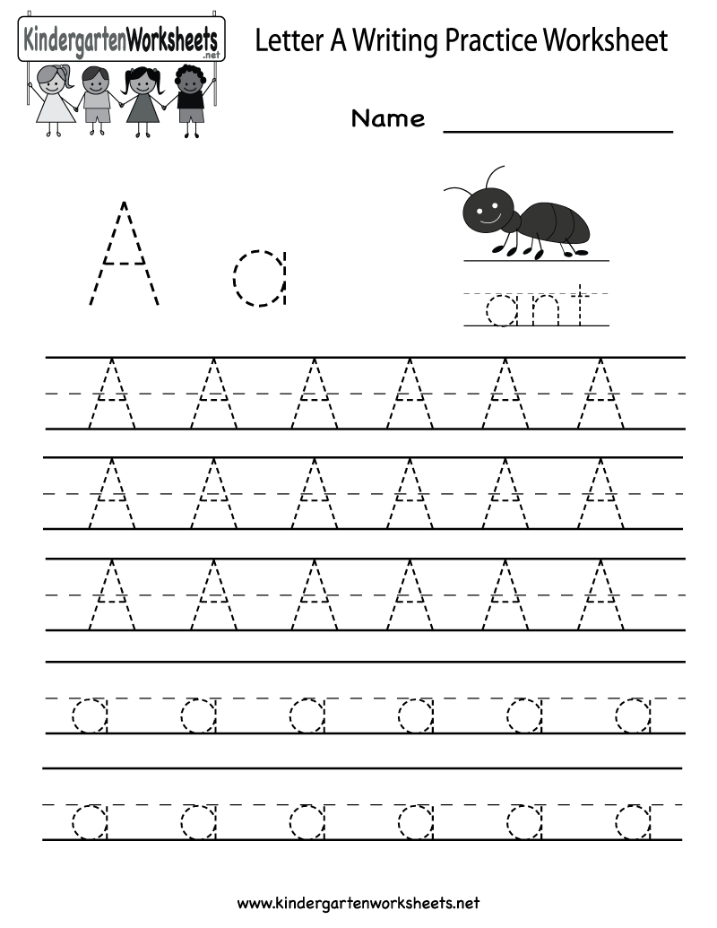 {Kindergarten Letter A Writing Practice Worksheet Printable – Letter Writing Worksheets for Kindergarten