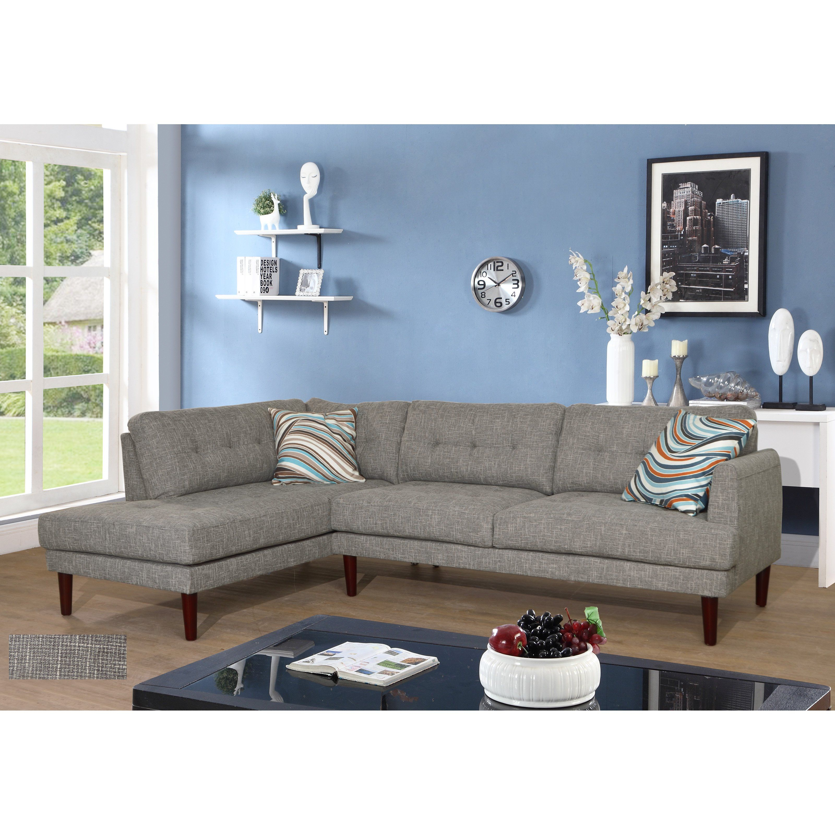 Beverly Fine Furniture Linen Sectional Sofa From Hayneedle Com  # Muebles Juramento Y Libertador