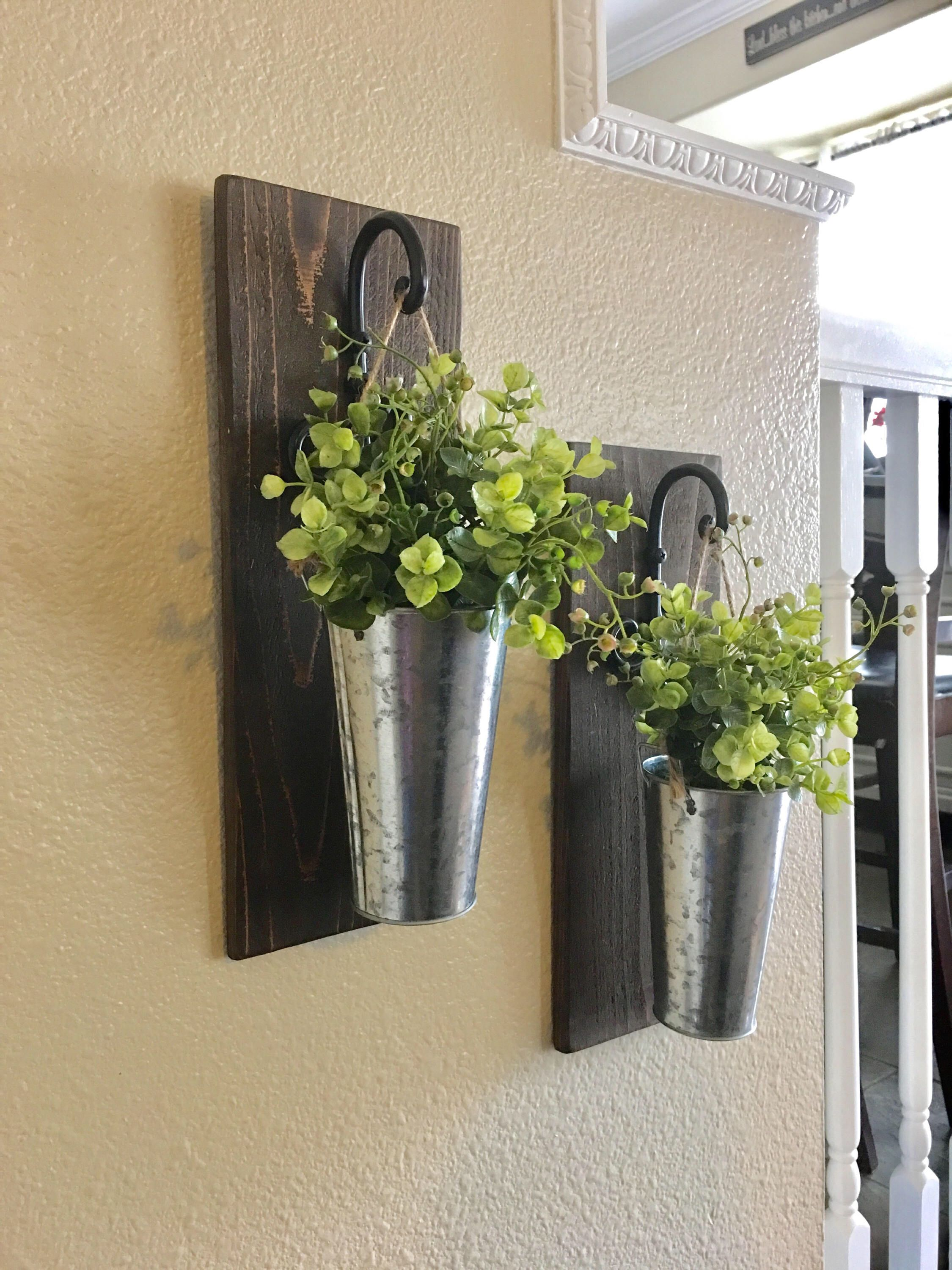 Galvanized Metal Hanging Planter with Greenery or Flowers ...