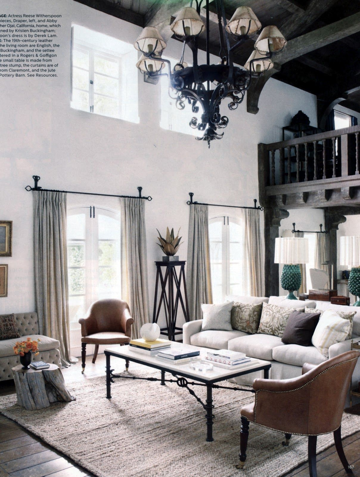 Elle Decor September 2012 Reese Witherspoon\'s home | Living Room ...