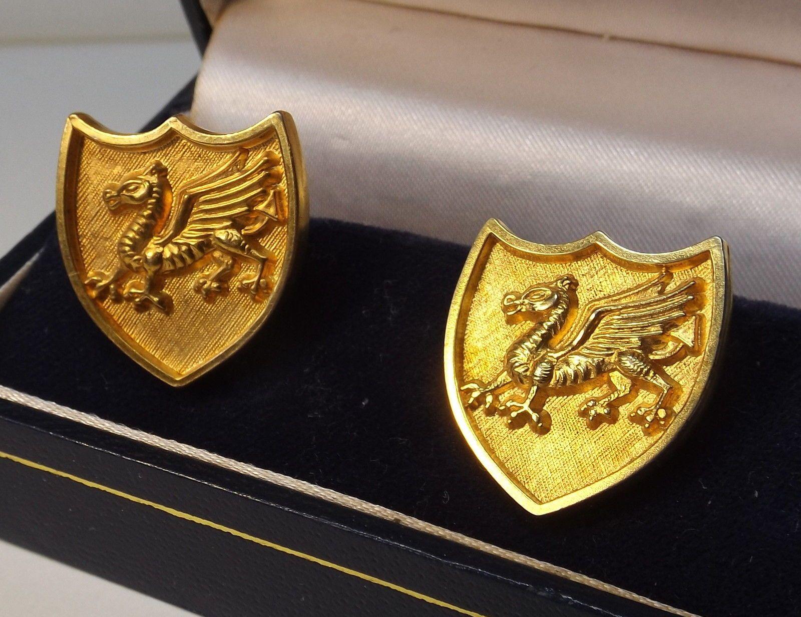 Welsh Dragon Vintage Gold-Tone Shield Cufflinks : In A Presentation Box