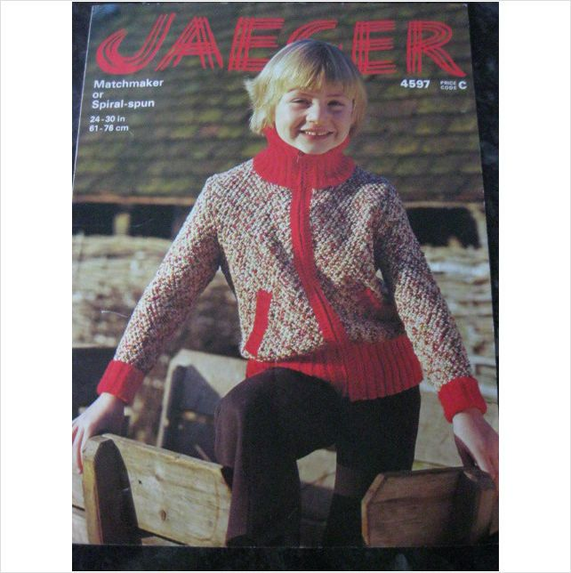 Jaeger Knitting Pattern 4597 Childs Zipped Jacket Chest 24 30