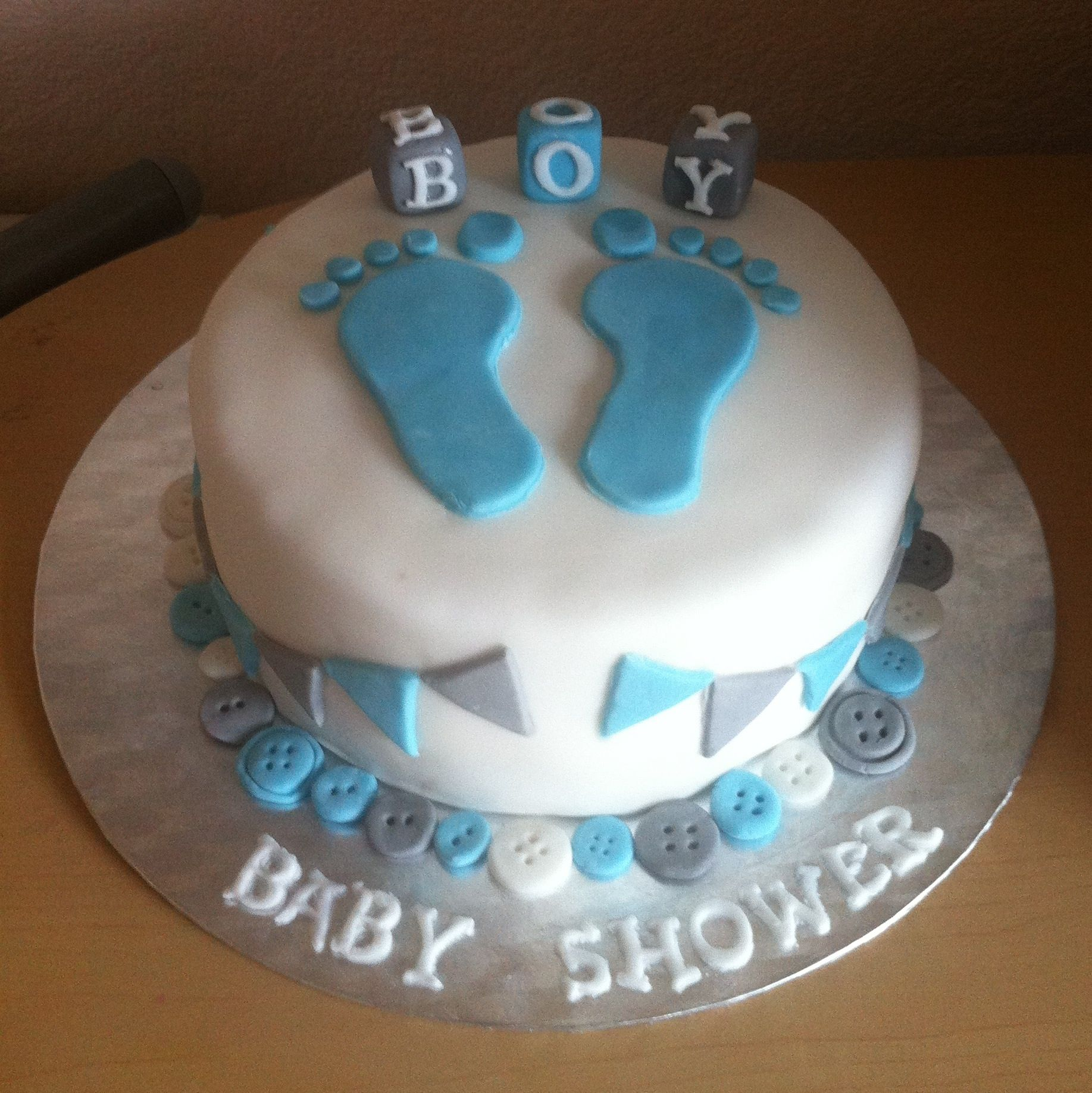 Boys Baby Shower Cake: Baby Boy Baby Shower Cake With Fondant Footprints, Blocks