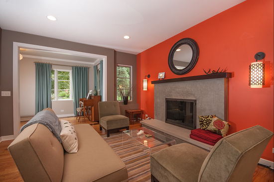 Beautiful And Luscious Orange White Living Rooms Dark With Ceiling Creates The Ambiance Here