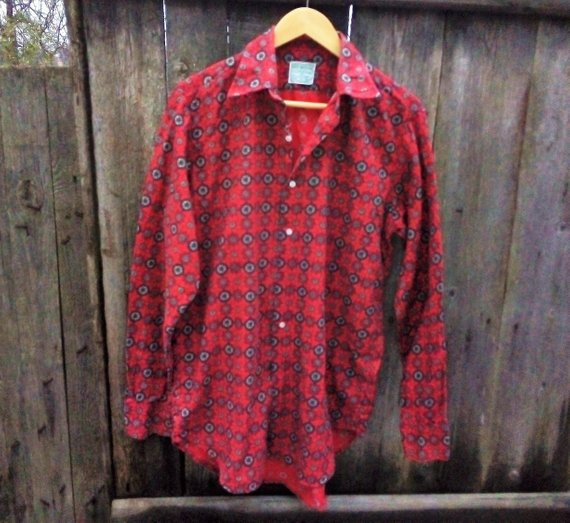 1b32358afc3 Boho Red men's shirt Hippie button down shirt Retro print shirt Vintage  CLYDELLA shirtCotton wool sh