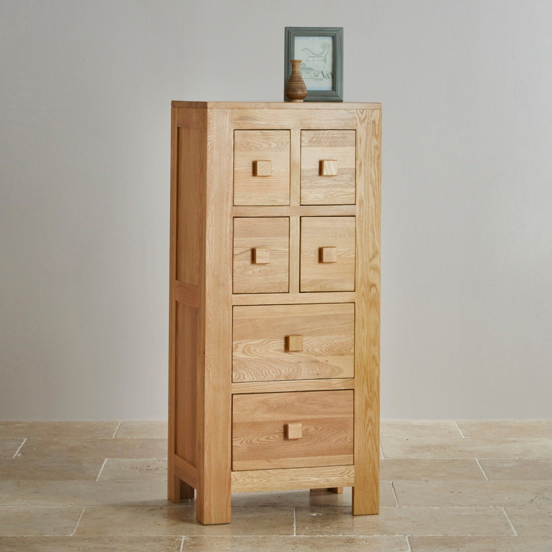 The Oakdale Natural Solid Oak 4ft Tall CD Storage Unit is made using ...