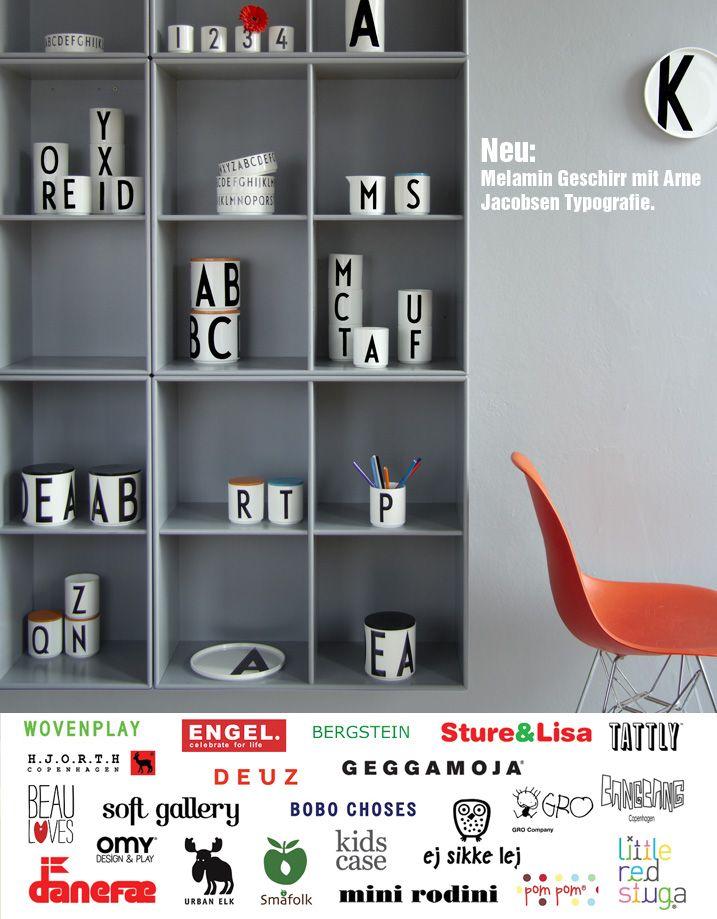 Melamine tableware with Arne Jacobsen typography @ Little Vikings