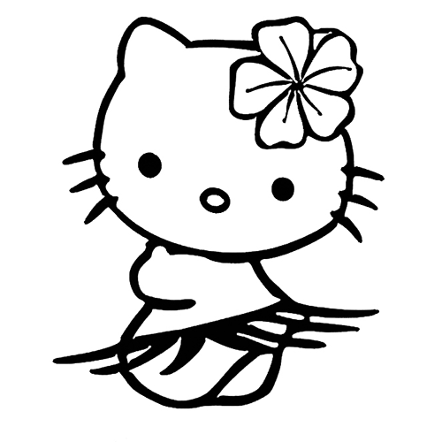 hula hello kitty coloring pages-#1