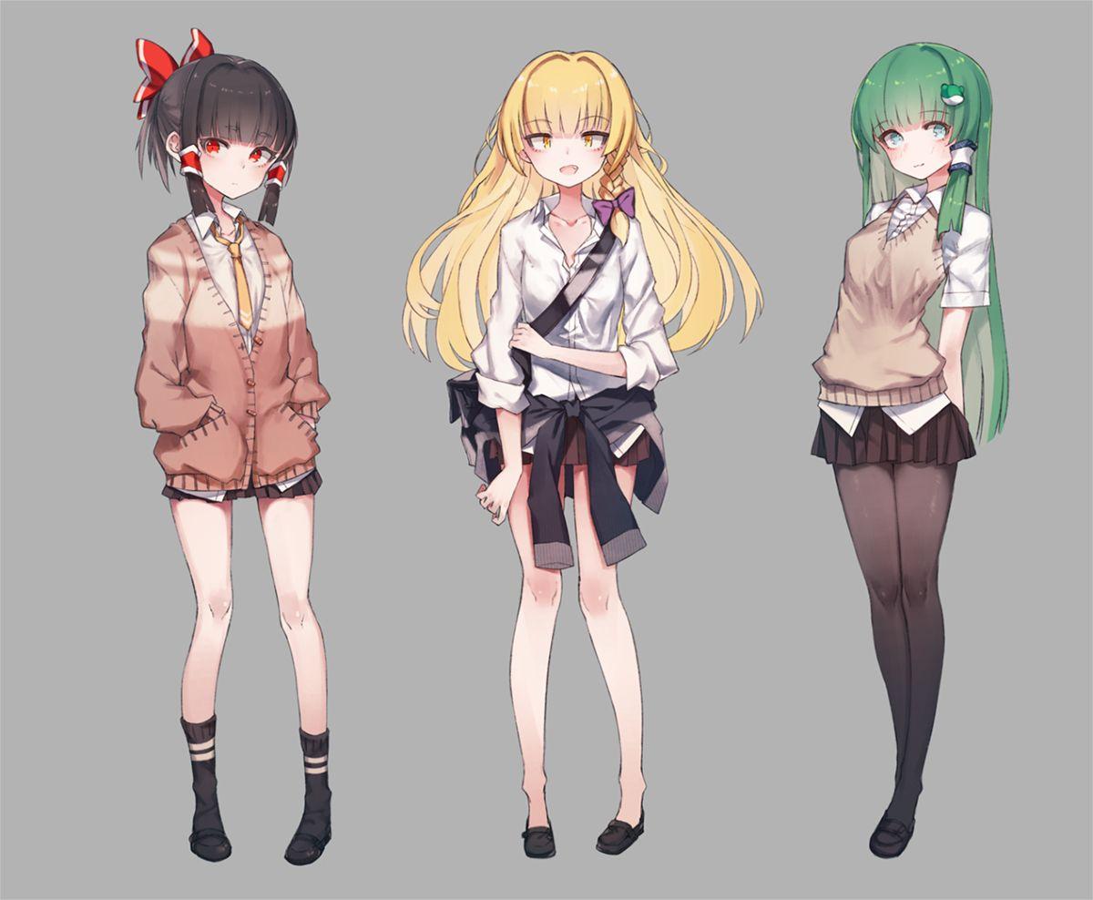 制服 1 touhou reimu hakurei marisa kirisame and sanae kochiya イラスト 東方 かわいい かわいいアニメガール