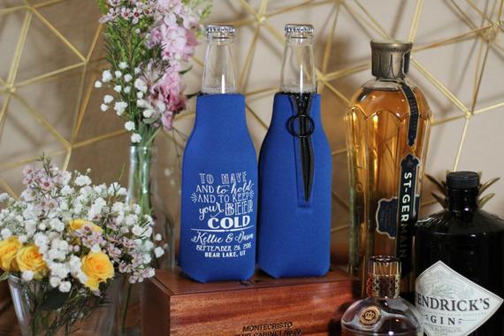 Personalized Favors Zippered Bottle Zippered Bottle Party Favors Beer Bottle Custom Monogram Favors Couples Shower Weddings 1571
