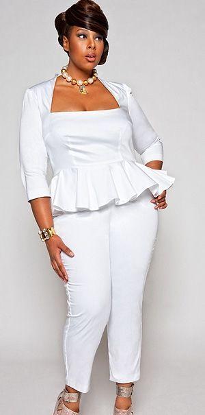 plus mannequin mia amber for monif c. plus sizes white jumpsuit