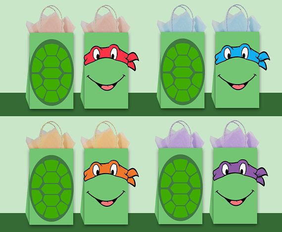 Ninja Turtles Diy Favor Bag Template Ninja Turtles Party Bags Ninja Turtles Birthday Party Ninja Turtle Party Ninja Turtle Birthday