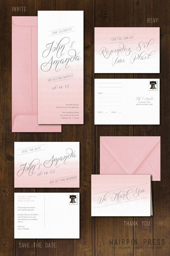 Ombre Wedding Invite Watercolor Modern Simple Script By