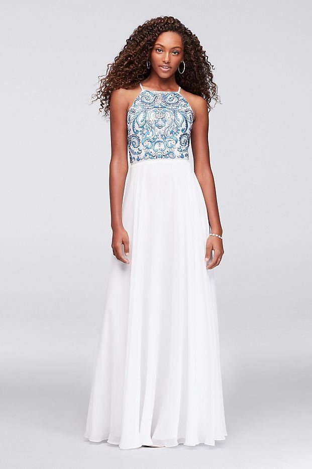 Embroidered High-Neck Chiffon Prom Dress | David\'s Bridal | Blue and ...