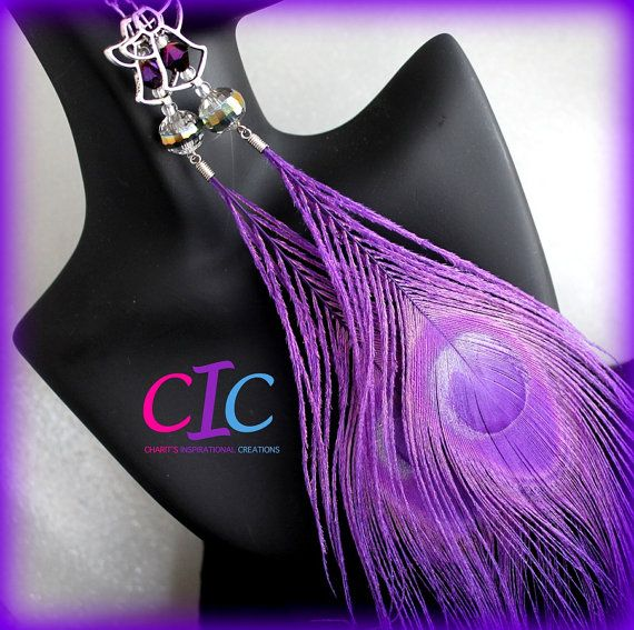 Divalicious Purple Peacock Feather Angel Earrings by CICinspireme, $17.00