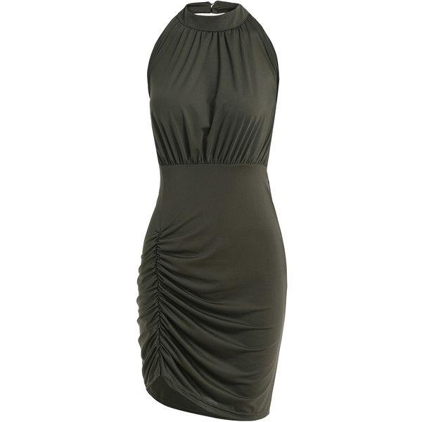 SheIn(sheinside) Green Halter Backless Pleated Bodycon Dress ($14 ...