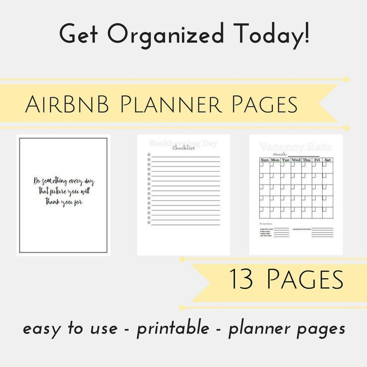 AirBnB Organizer PDF, AirBnB Host Planner Pages, Business