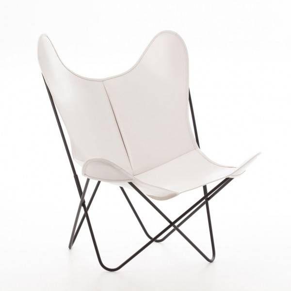 Nouveau Fauteuil AA New Design Cuir Blanc Structure Noir Design - Fauteuil cuir blanc design