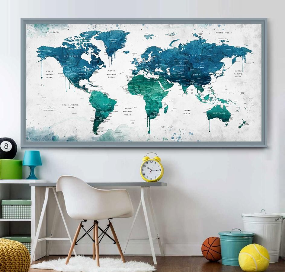 Extra large watercolor push pin map poster print world map wall art artwork