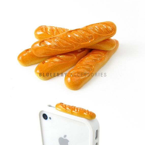 Baguette Bread Anti Dust Plug Cover Stopper for iPhone by Blulerry, $4.99