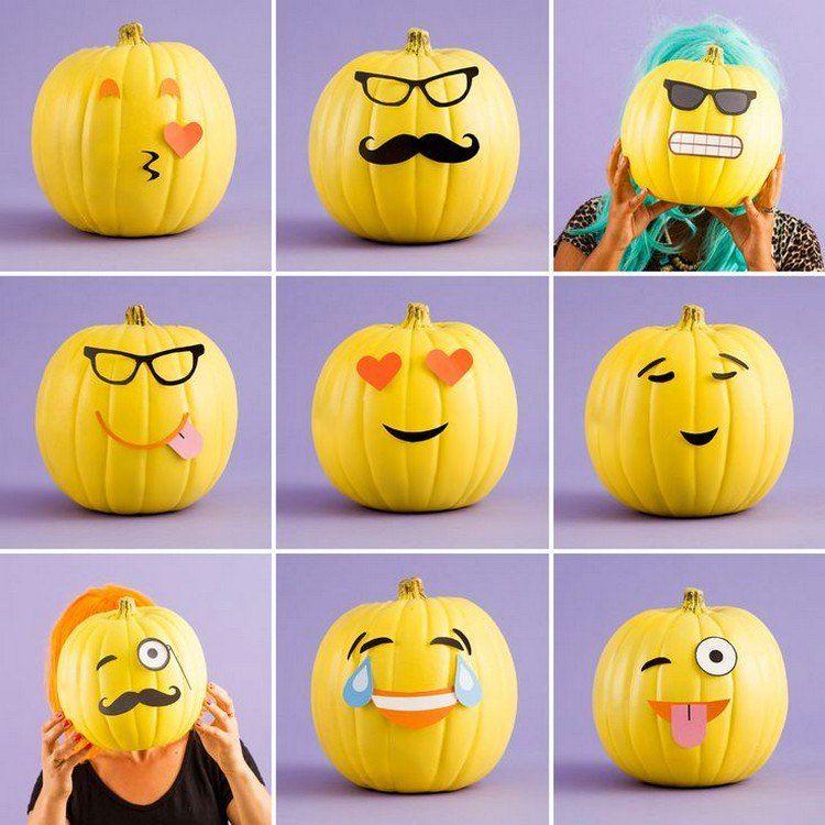 gelb bemalte Smileys drücken verschiedene Emotionen aus