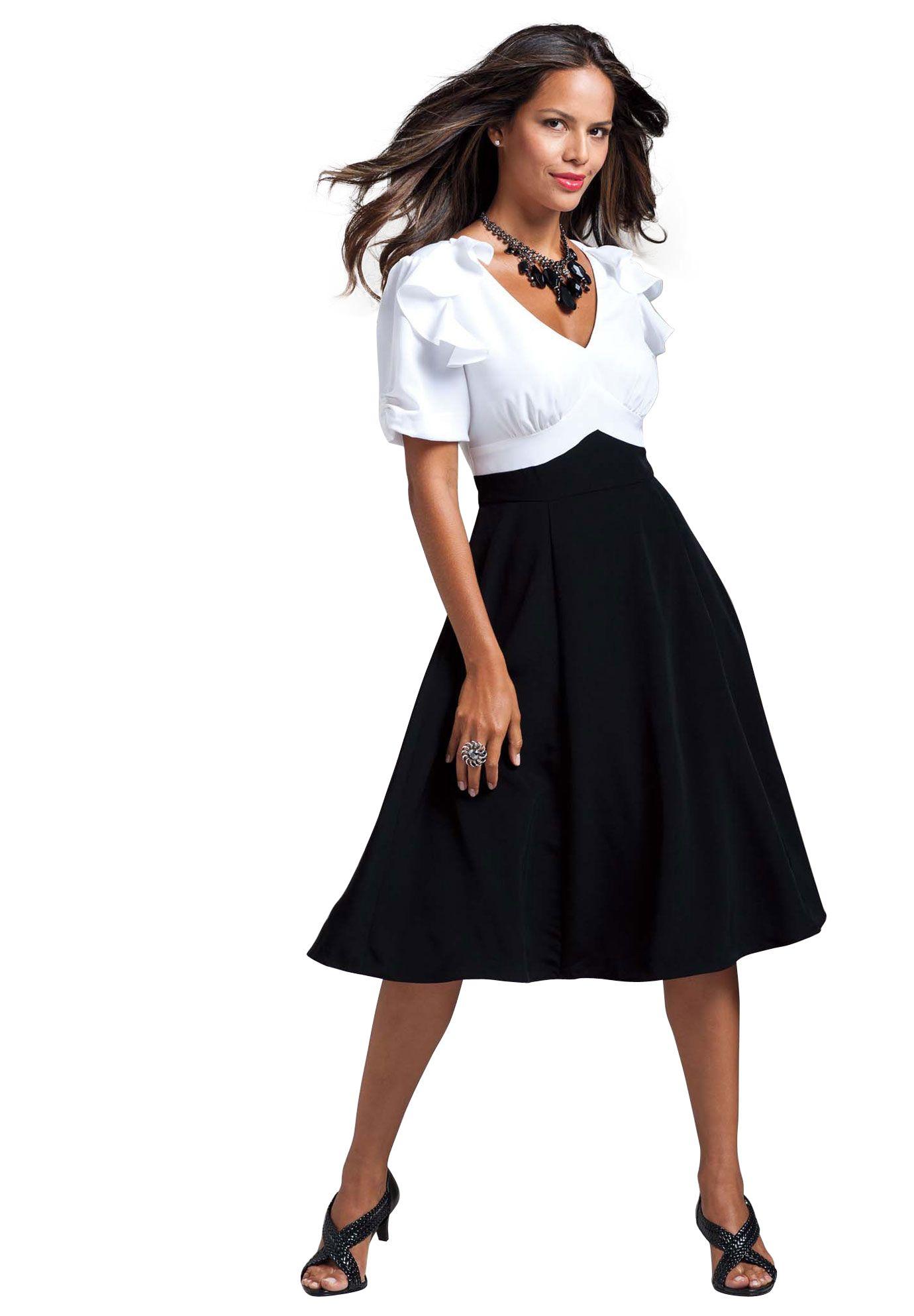 Colorblock Empire Waist Dress Plus Size Special Occasion Dresses