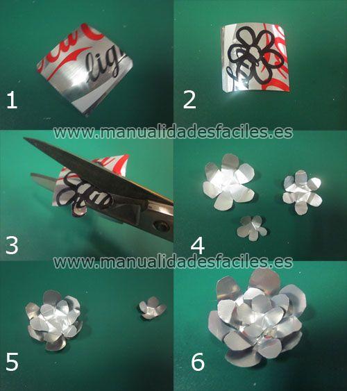 Colgante Rosa Hecho Con Chapas Y Latas Recicladas Artesanias De Latas De Aluminio Latas De Aluminio Flores De Latas De Aluminio