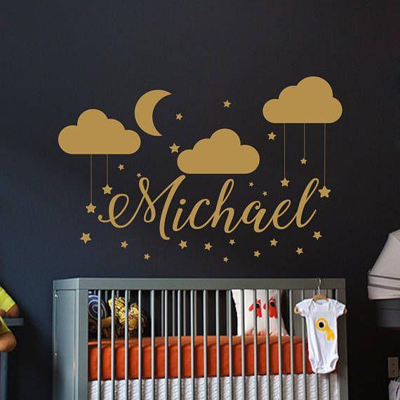 Name Wall Decal Baby Nursery Wall Decal Boy Name For Sons Nursery - Nursery wall decals clouds